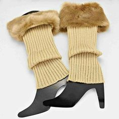 SALE Faux fur trim boot topper leg warmer Natural Boutique Accessories