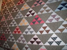 Vintage Quilt Top  1890's  Half Square Triangles  by LindaHarvey