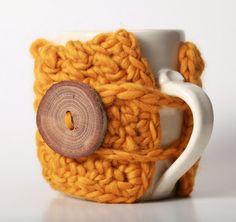 Mustard Gold Autumn Fall Squash Coffee Mug Cozy Travel Mug Sleeve with Gorgeous Wood Tree Branch Buttons. $17.00, via Etsy.