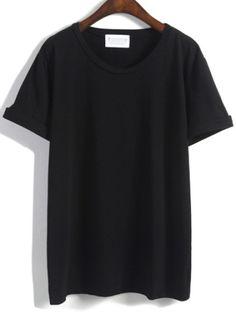 c42af1ef Cuffed Loose Black T-shirt T Shirt And Shorts, Black Shorts, Ellesse,
