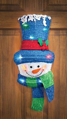 Color Changing Festive Snowman Door Décor
