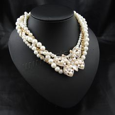 ABS Plastic Pearl Necklace with brass claw chain Zinc Alloy