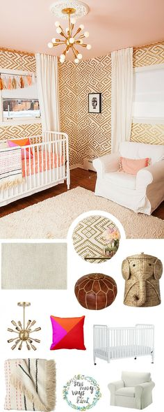 "This bohemian styled baby nursery theme is perfect for any girl. ""Stella's Nursery"" is bright, vibrant, has a bit of a vintage, hippie, boho vibe all combined in one and can easily be configured as your little one gets older. - SewManyWaysKimi"