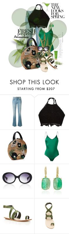 """Fresh perspective in black and green!"" by anallasa ❤ liked on Polyvore featuring 7 For All Mankind, Aranáz, Oséree, A-Morir by Kerin Rose, Lauren K, TIBI, Tata Harper, Cotton Candy, polyvorecommunity and polyvorefashion"