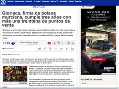 Gloriaca en el periódico online 20Minutos. 25/11/15 http://www.20minutos.es/noticia/2613067/0/gloriaca-firma-bolsos-murciana-cumple-tres-anos-con-mas-treintena-puntos-venta/