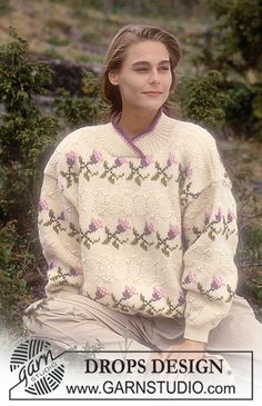 "DROPS jumper with rose pattern borders in ""Alaska"" or ""Karisma"". ~ DROPS Design"