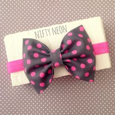Neon pink polkadots charcoal grey fabric hair bow by SplendidBee, $5.00
