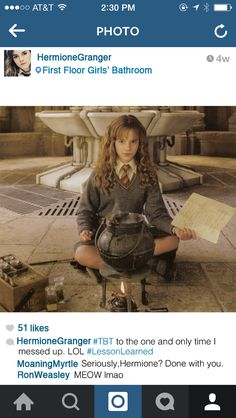 When she's reminiscing: | If Hermione Granger Had Instagram