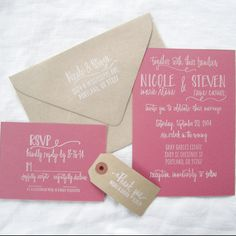 Paper Sushi's hand lettered custom wedding invitation rubber stamp suite with hand drawn flourish design.