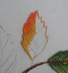Sew in Love: Autumn Leaves Wedding Pillow - Leaves 1 & 2 Herb Embroidery, Pillow Embroidery, Hand Embroidery Flowers, Silk Ribbon Embroidery, Hand Embroidery Patterns, Embroidery Stitches, Embroidered Leaves, Beaded Flowers Patterns, Thread Painting