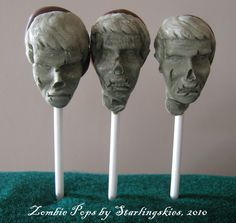 ZOMBIE POPS, The head on a stick you're dying to consume, Quantity 3. $4.99, via Etsy.