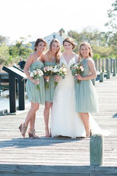 Quaint Nautical Themed Waterside Wedding - Fab You Bliss Mint Bridesmaid Dresses, Brides And Bridesmaids, Wedding Dresses, Green Bridesmaids, Wedding Bells, Our Wedding, Dream Wedding, Wedding Things, Wedding Ideas