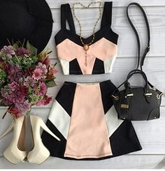 New Clothes For Women Outfits Crop Tops Ideas Teen Fashion Outfits, Mode Outfits, Look Fashion, Fashion Dresses, 90s Fashion, Fashion Clothes, Fashion Trends, Cute Casual Outfits, Stylish Outfits