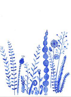 Blue winter garden- original watercolor-scandinavian floral design
