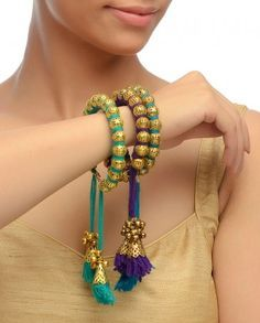 Set of 3: Violet, Turquoise & Mint Bangles- Buy Bracelets,Soranam Online | Exclusively.in #Indian #Jewellery