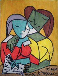 """Two Girls Reading"" - Pablo Picasso (Spanish, 1881–1973), oil, 1932 {females cubism figure painting #twentiethcentury #arthistory}"