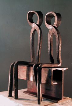 Pongolini Giuseppe  KING and QUEEN  contemporary forged iron sculpture   22 inches (height)