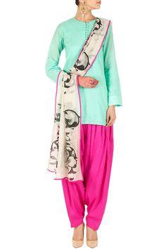 Aqua and fuschia kurta set BY PAYAL SINGH. Shop now at perniaspopupshop.com #perniaspopupshop #clothes #womensfashion #love #indiandesigner #payalsinghal #happyshopping #sexy #chic #fabulous #PerniasPopUpShop
