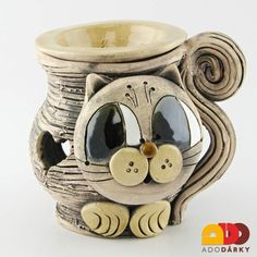 gato lámparas de aroma Clay Projects, Cat Art, Ceramic Art, Cement, Zentangle, Dinnerware, Origami, Pottery, Fantasy