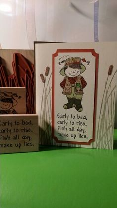 Stampin ' Up background/Great Impression fishermen/Heather saying. Birthday card
