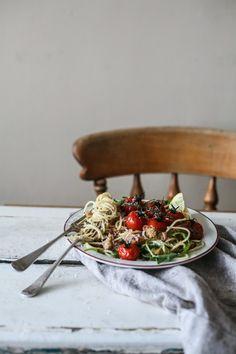 Roasted Tomatoes with Oregano & Garlic Breadcrumb Spaghetti I Daisy and the Fox