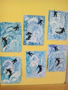 Bildergebnis für zimní městečko ve výtvarce Winter Art Projects, School Art Projects, Olympic Crafts, January Art, 4th Grade Art, Theme Noel, Kindergarten Art, Art Lessons Elementary, Art Lesson Plans