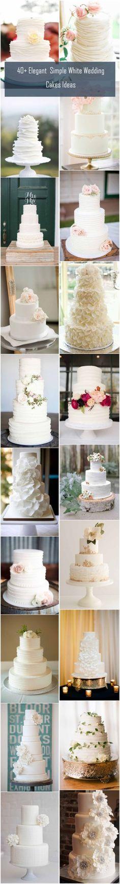 40+ Elegant and Simple White Wedding Cakes Ideas | www.weddinginclude.com/2016/08/elegant-and-simple-white-wedding-cakes-ideas/
