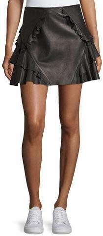 Derek Lam 10 Crosby Ruffled Leather Mini Skirt, Black