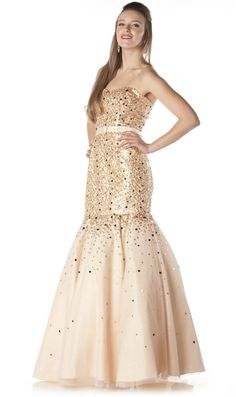 Champagne Trumpet Gown Mesh Long Strapless Large Sequins Mermaid Skirt $165.99
