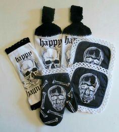 Skull Kitchen Towels, Oven Mitt, and Hot Pads