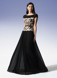 Pailette Embroidered Bodice Cap Sleeve Gown with Sunburst Pleated Chiffon Skirt and Grosgrain Ribbon Belt