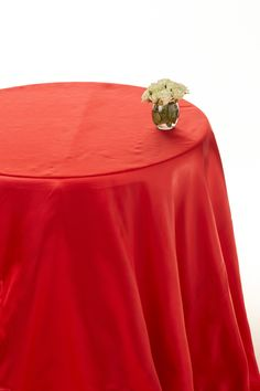 Cherry red satin round table cloths  #red satin round cloths #table linen hire  www.decorit.com.au