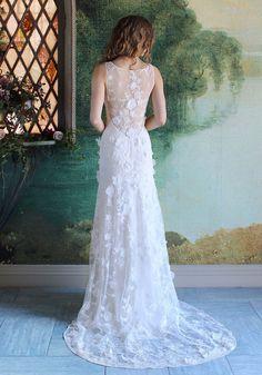 Magnolia Beaded Floral Lace Wedding Dress Romantique by Claire Pettibone back…