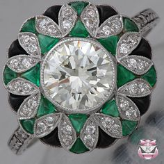 emerald art deco diamond ring http://Gemlab.co.in