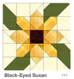 The Black Eyed Susan quilt block can be made in a larger size and therefore takes fewer blocks to create your quilt. This five patch design is well worth the effort for a beautiful flower quilt block. Barn Quilt Designs, Barn Quilt Patterns, Pattern Blocks, Quilt Block Patterns 12 Inch, Quilt Square Patterns, Sunflower Quilts, Painted Barn Quilts, Quilt Modernen, Star Quilt Blocks