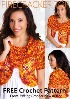 Firecracker Top Download from Talking Crochet newsletter. Click on the photo to access the free pattern. Sign up for this free newsletter here: AnniesNewsletters.com.