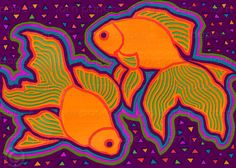 PAIR OF GOLDFISH  FINE ART PRINT designed by artist - Linda Henry  Available as a PRINT with a FREE MAT or as an ART BLOCK ART BLOCKS offer a contemporary alternative to a traditional frame  Ready to hang - Beautiful in a grouping or displayed on a shelf    ♦ Select your preferred Size & Style from the drop down menu    ♥ A CELEBRATION OF LOVE, FRIENDSHIP & ALL GODS CREATURES  Pairs of birds, fish and animals - many of which mate for life - are featured in this distinctive collection ...