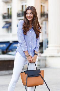 Romwe blue shirt. Zara pants.  Jessica Buurman two tone bag. Daniel Wellington watch.