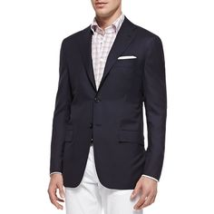 Kiton Three-Button Wool Blazer (€6.185) ❤ liked on Polyvore featuring men's fashion, men's clothing and men's sportcoats