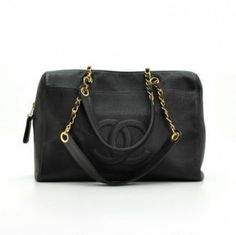 Chanel Black Caviar Leather Shoulder Medium Tote Bag Cc855