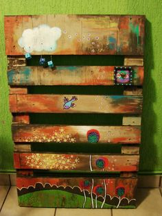 Painting on a pallet fun project for PQ and the K's