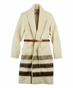 Look at this Woolrich® Natural Stripe Belted Wool-Blend Jacket on #zulily today!