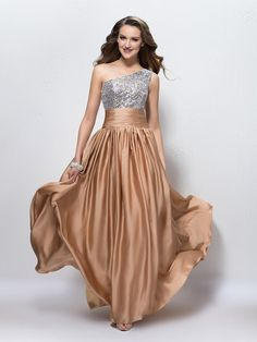 Chiffon Sequined One Shoulder Floor-length A-line with Beading Ball Dresses #PLS020104169