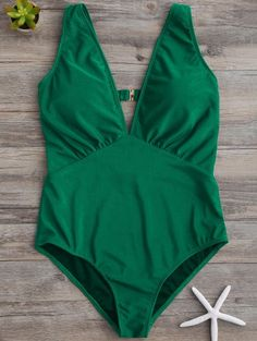 SHARE & Get it FREE | Plunge Thong One-Piece Swimwear - GreenFor Fashion Lovers only:80,000+ Items • New Arrivals Daily Join Zaful: Get YOUR $50 NOW!