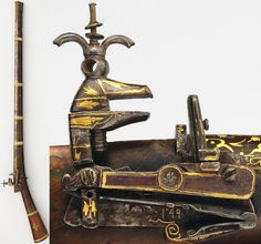 Ottoman miquelet lock gun, dated 1731–32. steel, gold, brass, ivory, wood, L. 55 5/8 in. (141.3 cm), Met Museum, Bequest of George C. Stone, 1935.