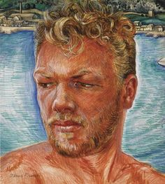 Jared French - self portrait / sun bleached hair, scruffy beard and Provincetown over his shoulder