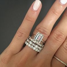 Our moissanite unique engagement ring set is handmade in expert detail. This white gold floral set features a luxurious moissanite engagement ring with floral accents along either side of the band. A sprinkle of diamonds accentuate the large focal 1 c Emerald Cut Engagement, Halo Engagement Rings, Vintage Engagement Rings, Emerald Cut Wedding Band, Wedding Rings Solitaire, Wedding Bands, Bridal Rings, 3 Karat, Ring Set