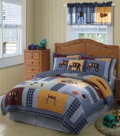 Construction Twin Quilt Set - Boys Bedding from Pem America Boys Bedding Sets, Plaid Bedding, Quilt Bedding, Childrens Beds, Twin Quilt, Boy Quilts, Queen Quilt, Texture, Quilt Sets