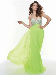 Chiffon Beaded Bodice Sweetheart Neckline Neon Lime Prom Dress PD11205 www.dresseshouse.co.uk $139.0000