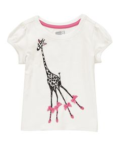 Soft tee sweetened with a giraffe pal in satin bows and ballet shoes.